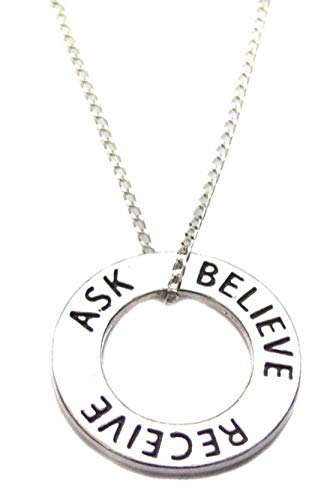 """Heart Projects Ask Believe Receive Affirmation Necklace Sterling Silver 18"""", Law Of Attraction Necklace"""