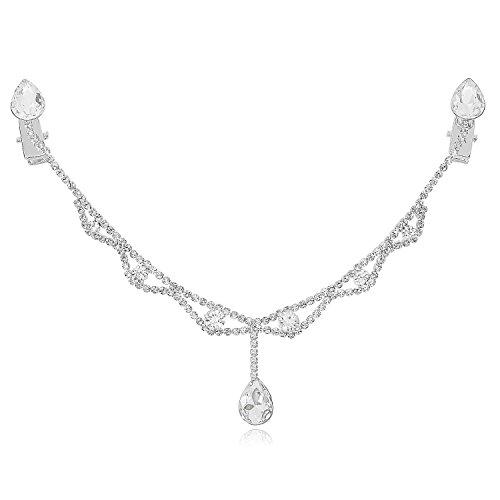 LY8 Fashion Women Silver-Tone Crystal Pendant Headband Bridal Forehead Chain for Wedding Party ()