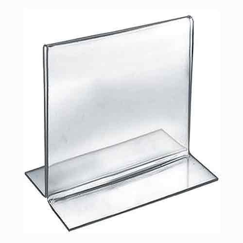 Azar Displays 152728 5-Inch Width by 5-Inch Height Double-Foot Acrylic Sign Holder, 10-Pack