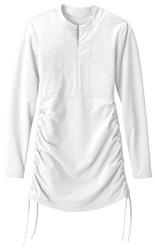 BeAllure Women's Swimming Shirt UV Sun Protection Long-Sleeve Rash Guards White L-US8