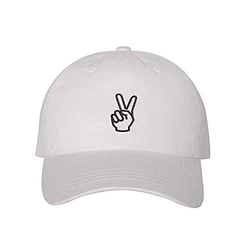 (Peace Hands Baseball Cap - Peace Sign Hat - Unisex Hats (White) )