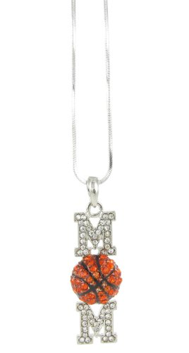 (Basketball Mom Rhinestone Pendant Necklace - Orange and Clear Crystals with Black Enamel)