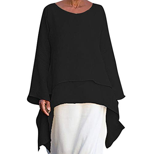 Women Fashion Plus Size Irregular Casual Linen Long Sleeve Crew Neck Blouse