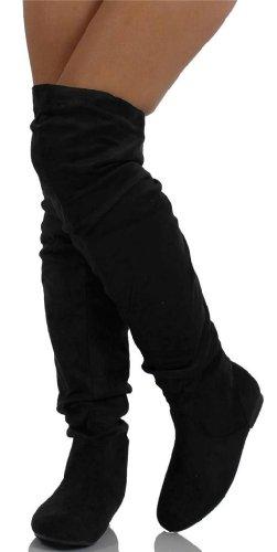 Nature Breeze Damen Overknee Slouchy Boots Premium Schwarz Wildleder