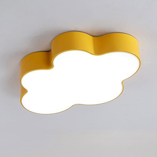 MOMO Deckenleuchte Kinderzimmer Lichter Moderne Cartoon Wolken Schlafzimmerleuchten Wohnzimmer Deckenleuchten Led Augenschutz Lampen,Gelb-60 40 8cm 36W (Schwarze Und Gelbe Gläser)