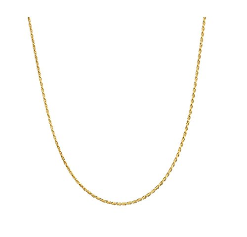 1MM Gold Rope Chain, Sparkle Stunning 18K Overlay Classic Necklace for Men or Women Looks and Feels Solid (18)