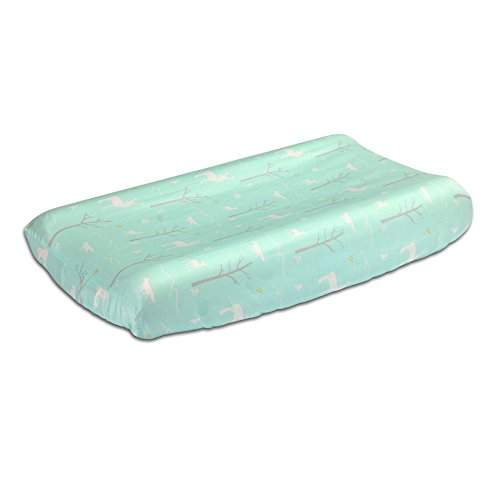 Mint Green Woodland Theme Baby Changing Pad Cover by The Peanut Shell by The Peanut Shell