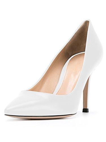 Sexy Escarpins Soireelady Chaussures Talon Femme Blanc Grande Escarpins Haut Taille Bvxdwxq1