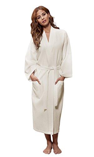 Turquaz Linen Lightweight Long Waffle Kimono Unisex Spa Robe (One Size, Beige)