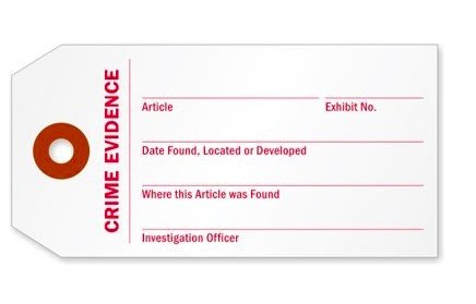 Crime Evidence Identification Tag, 25 Tags/Pack, 3.75