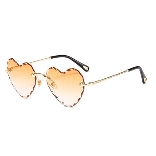 Heart Shaped Sunglasses Metal Frame Cute Eyewear UV400 for Women ()