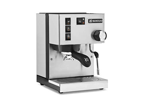 Rancilio Silvia 2019 Updated Model Commercial Espresso Coffee Machine With New Group Head Cover, Refreshed Switch Icons, Iron Frame, Stainless Steel Steam Wand And Side Panels, 11.4 By 13.4-Inch