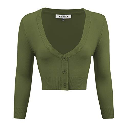 YEMAK Women's Cropped 3/4 Sleeve Bolero Button Down Cardigan Sweater CO129-SAG-M