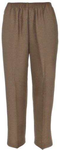Alfred Dunner Women's Petite Polyester Pull-On Pants - Short Length, Tan, 14 Petite ()