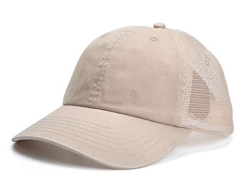 Home Prefer Men's Sun Hat Airy Mesh Sport Golf Hat Adjustable Baseball Cap Fishing Hat Light Khaki