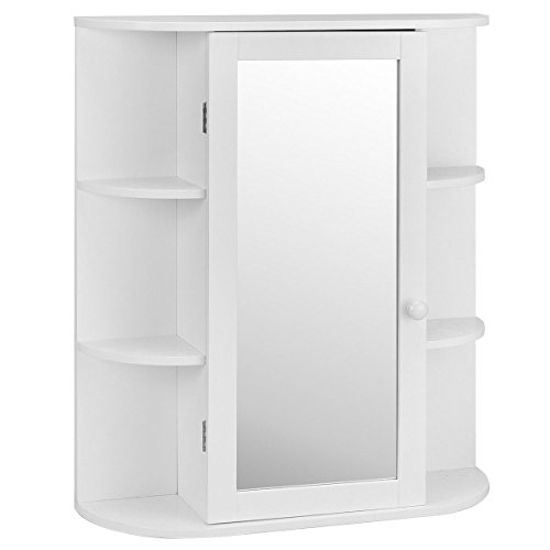28'' White Mount Wall Bathroom Mirror Single Door Storage Cabinet w/ 6 Open Shelves by FDInspiration