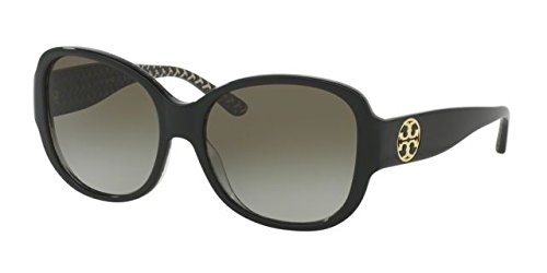 Tory Burch Women's 0TY7108 56mm Black/White Zigzag/Green Gradient - Sunglasses Signature