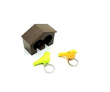 DinRoll - Llavero de Madera con pájaro, Color Amarillo y ...