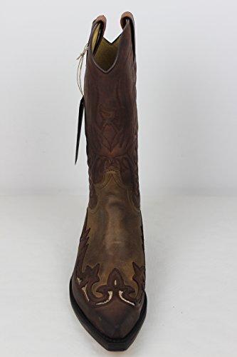 Sendra Boots Stiefel Cowboystiefel 3242 in braun incl. Roy Dunn´s Lederfett und Stiefelknecht