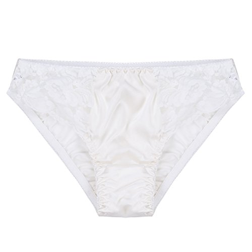 lk Lace Panties Soft Smooth String Bikini Briefs Stretchy Thongs White Medium ()