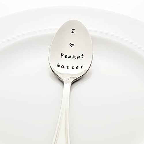 I (heart) Peanut Butter - Stamped Spoon - Stamped Silverware - Unique Foodie Gift Idea