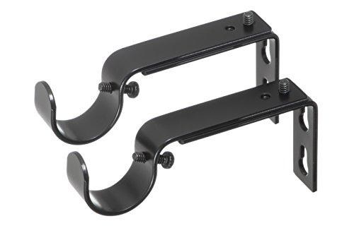Ivilon Adjustable Brackets for Curtain Rods - for 1 or 1 1/8 Inch Rods. Set of 2 - Black