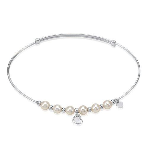UNICORNJ Adult Tweens Teens 14k White Gold Cultured Pearl 4.5mm Heart Bangle Bracelet Adjustable Size by Unicornj