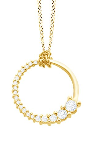 (AFFY Round Cut White Natural Diamond Journey Circle Pendant Necklace in 14k Yellow Gold)