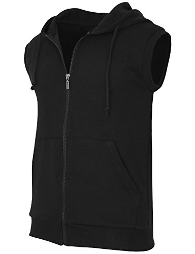- BCPOLO Men's Casual Zip-Hoodie Vest Cotton Sleeveless Zip up Hoodie Vest-Black XL