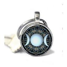 Triple Goddess Keychain , Wiccan Jewelry, Moon Goddess Jewelry Keychain , Wiccan Keychain Charm Keychain
