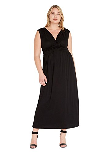 Knot Front Knit Dress (Women's Sleeveless Front Knot Comfy Stretch Maxi Draped Plus Size Dress USA Black 1XL)