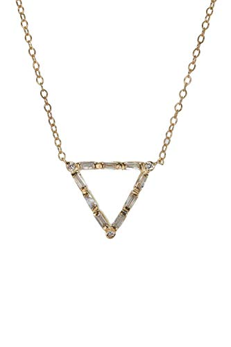 - Genuine Diamond Baguette Brilliant Cut Triangle Pendant Necklace- 14k gold- 17