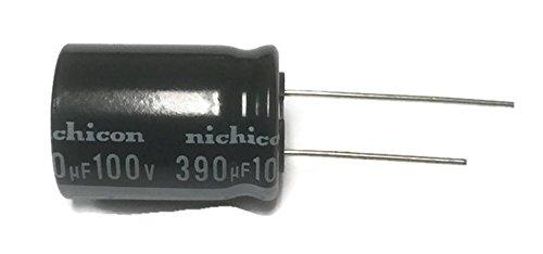 - Set of 2, Nichicon 105°C Electrolytic Capacitor 390uF 100V (390 mfd 100V) 20% Radial, 11/16