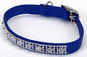 Coastal Pet Products DCP420114BLU Nylon Jeweled Dog Collar, 14-Inch, Blue