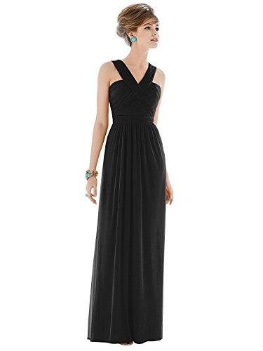 Alfred Sung Style D678 Floor Length Chiffon Shirred Skirt Formal Dress - Sleeveless Halter Neck - Black - 6