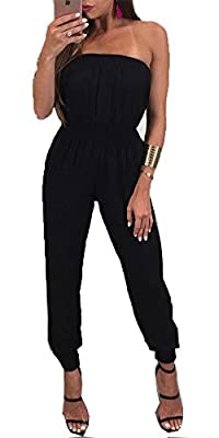 Women's Sexy Slim Soft Strapless Jumpsuit Romper BlackCasual Jumpsuit Off-Shoulder Backless Jumpsuits Sleeveless Jumpsuits