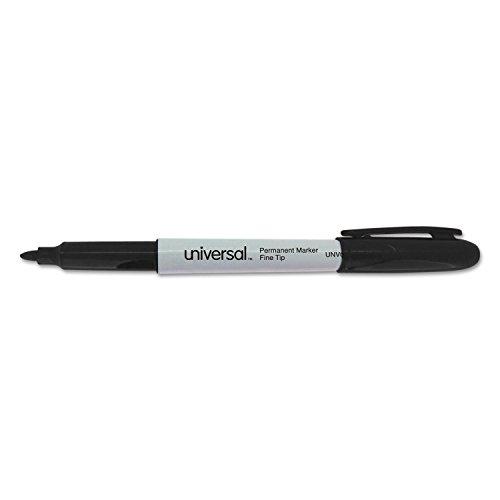 Universal 07074 Pen-Style Permanent Marker, Bullet/Fine, Black, 60 per -