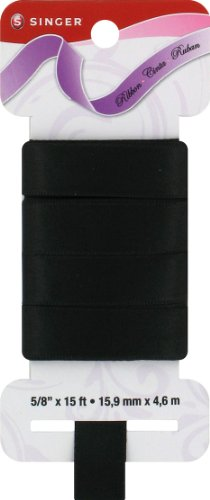 Singer Solid Satin Ribbon, 5/8-Inch by 15-Feet, Black