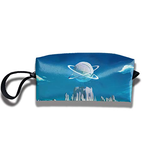 Cosmetic Bags With Zipper Makeup Bag Futuristic City Middle Wallet Hangbag Wristlet Holder]()