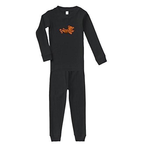 Teddy Bear Lying On Stomach Cotton Long Sleeve Crewneck Unisex Infant Sleepwear Pajama 2 Pcs Set Top and Pant - Black, (Lying Teddy Bear)