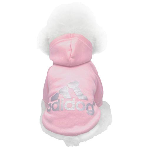 Moolecole Pet Sports Apparel Cat & Dog Cold Weather Coats Dog Hoodies Pet Sweaters (S, Pink)