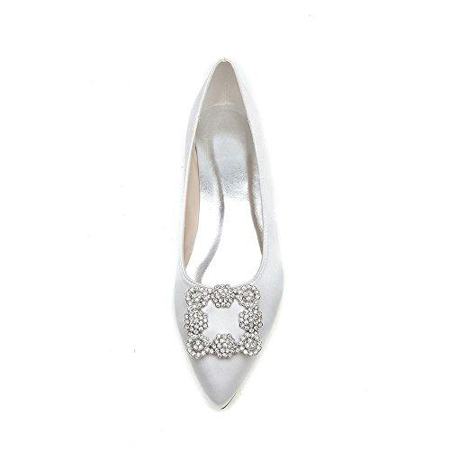 Satin Soie Duoai Chaussures de Blanc Pleine Chaussures Tempérament Chaussures Femmes Femmes Banquet Parti 41 Couleur Télévision Mariage czzrgW1