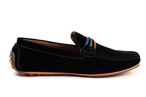 JAS Hombre Conducción Zapatos Casual Sin Cordones Barco Mocasines Italiano Mocasin Negro