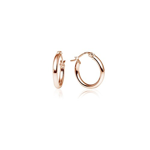 LOVVE Rose Gold Flashed Sterling Silver High Polished Round-Tube Click-Top Hoop Earrings, 2x15mm by Lovve