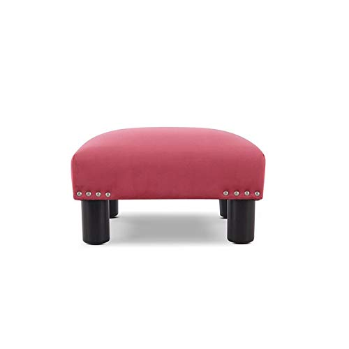Brika Home Square Accent Foot Stool Ottoman in Garnet Rose