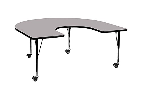 Flash Furniture Mobile 60''W x 66''L Horseshoe Grey Thermal Laminate Activity Table - Height Adjustable Short Legs