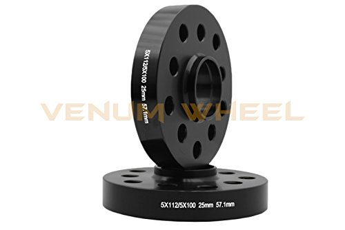 Complete Staggered Kit of 25mm & 30mm Black Hubcentric (57.1) Wheel Spacer Audi Volkswagen 5x100 & 5x112 Bolt Pattern + 20 Pc 14x1.5 Black Ball Seat Lug Bolts … by Venum wheel accessories (Image #2)