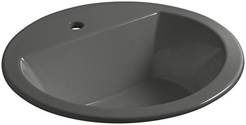 KOHLER K-2714-1-58 Bryant Round Drop-In Bathroom Sink with Single Faucet Hole, Thunder Grey