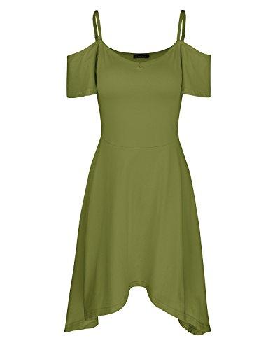 OUGES Women's Adjustable Spaghetti Strap Sleeveless Summer Beach Slip Dress(Green02,XXL)