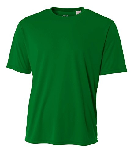 A4 Men's Cooling Performance Crew Short Sleeve, Kelly, - Green Polyester Kelly